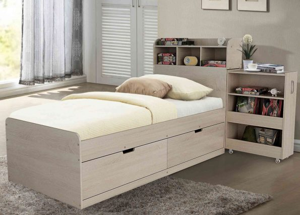 A AVOCA BED with slide out headboard storage + drawers