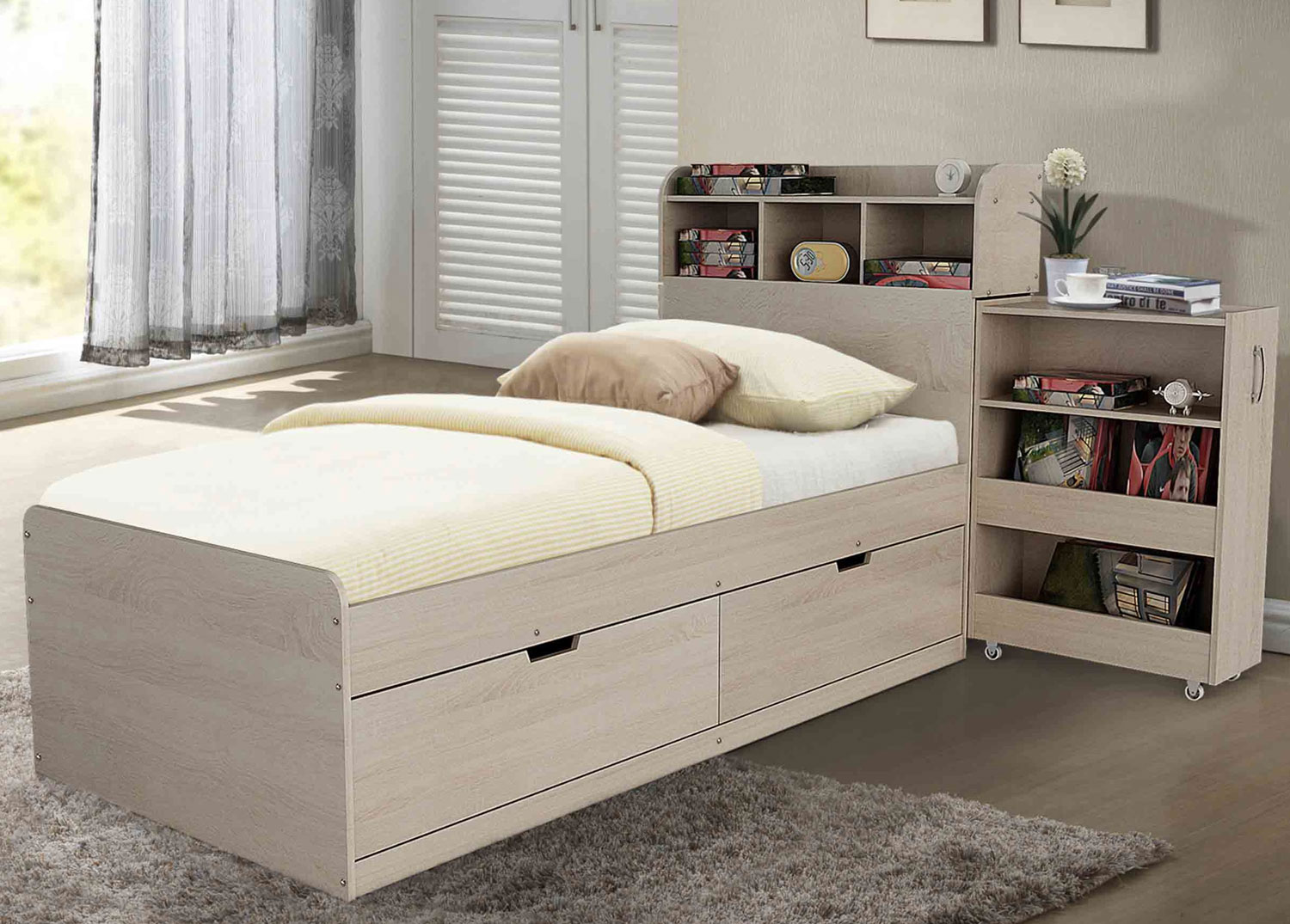 Picture of: A Avoca Bed With Slide Out Headboard Storage Drawers Hardings Furniture