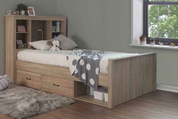 A BOOKCASE BED WITH DRAWERS – King Single